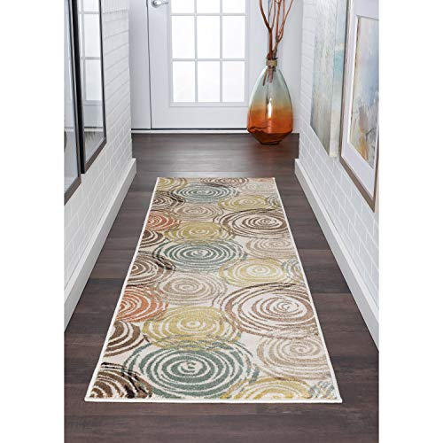 Contemporary Abstract Runner Rug 2'3 X 10' Ivory Graphic Bohemian Eclectic Glam Modern Jute Polypropylene Latex Free Pet Friendly Stain Resistant
