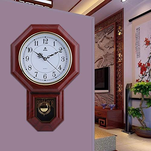 Antique Brown Wooden Pendulum Wall Clock Classic Round Cuckoo Clock Pendulum Wall Decor Analog Clock Living Room Bedroom Dining Area Classic Modern