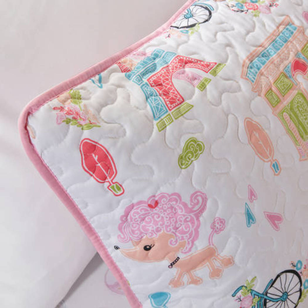 Kids Poodles Coverlet Set Eiffel Tower Winery Bedding Cycle Paris Adorable Dog Bicycle Hot Air Balloon Female Bedroom