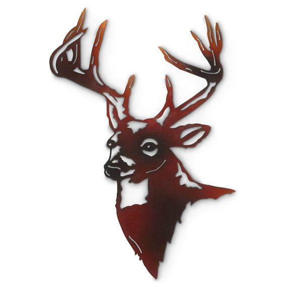 Hanging Rustic Deer Metal Wall Art Heavy Gauge Construction Vintage Finish Hunting Lovers Decor Man Cave Cabin Crafted Finesse - Diamond Home USA