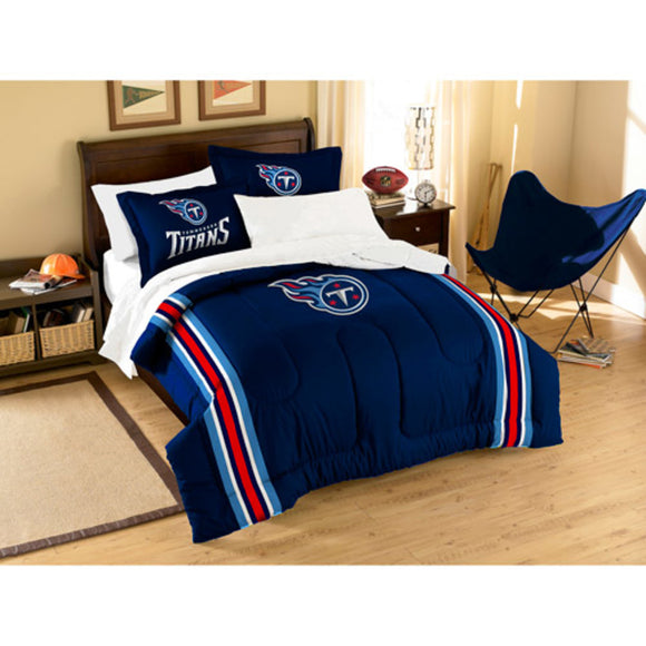 NFL Tennessee Titans Comforter Twin Set Sports Patterned Bedding Team Logo Fan Merchandise Team Spirit Football Themed National Football League Blue