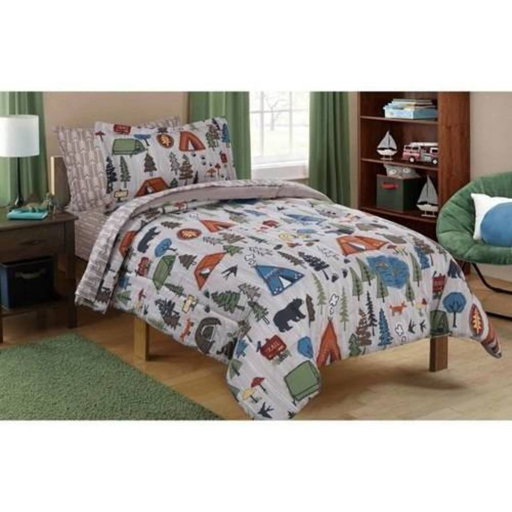 Kids Cute Camping Themed Comforter Set Outdoors Camp Pattern Bedding Bears Pinetrees Tents Trees Wilderness Trails Hiking