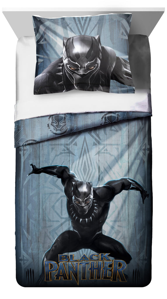 Kids Grey Blue Black Panther Comforter Twin/Full Set Childrens Marvel Bedding Cat Superhero Themed Action Movie Character Yellow Polyester