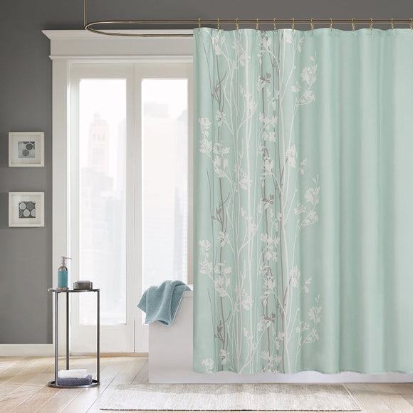 Light Green White Graphical Nature Themed Shower Curtain Polyester Detailed Flower Tree Printed Abstract Floral Pattern Classic Elegant Design Rich - Diamond Home USA