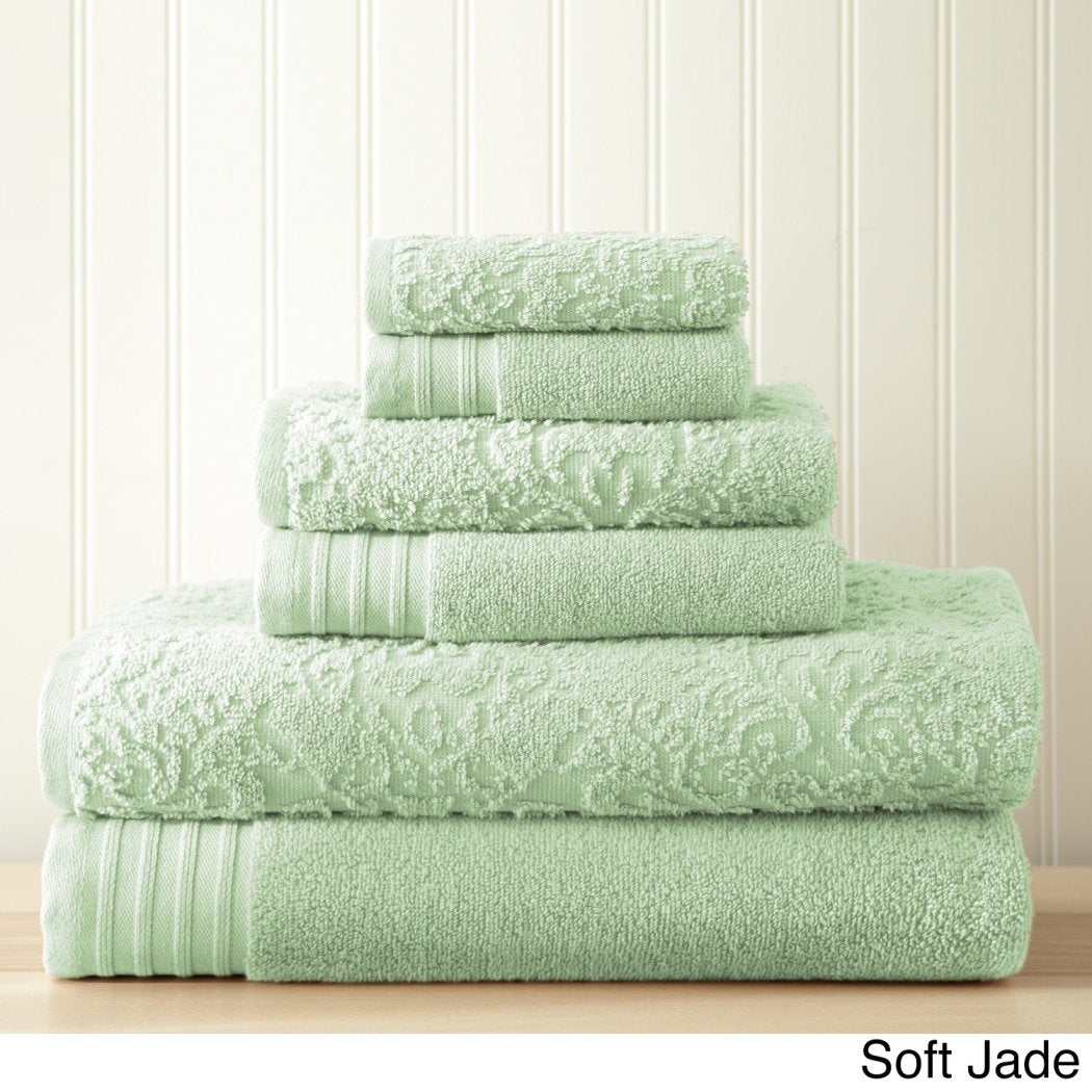 Jacquard Bath Towel Set Damask Geometric Embroidery Luxurious Texture Modern Stylish Sleek Trendy Ikat Soft Towels Bathroom