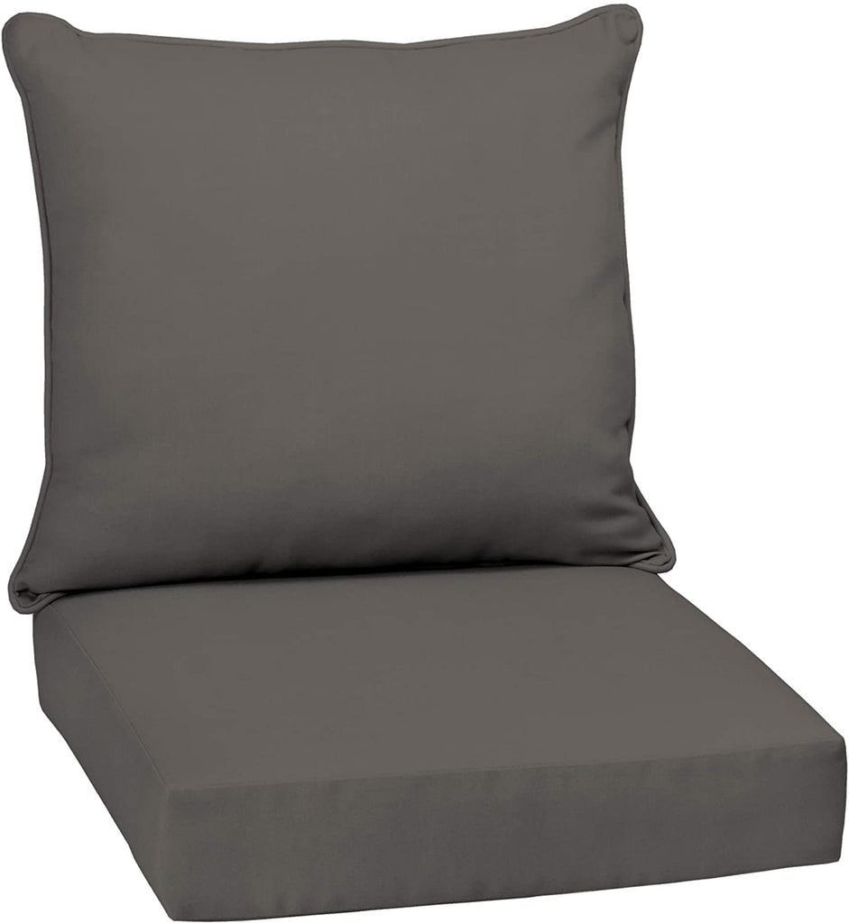 Slate Canvas Texture Outdoor Deep Seat Set Grey Solid Traditional Uv Resistant
