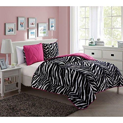 2 Piece Twin Kids Pink Polyester Romantic Comforter Set Stripe Chevron Pattern Fancy Luxury Bedding Contemporary Vibrant Bright Pink