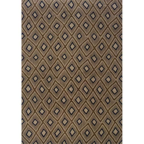 "MISC Primative Tribal Lattice Area Rug 1'10"" X 7'6"" Runner Grey Diamond Geometric Nylon Contains Latex Stain Resistant"