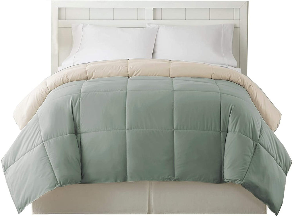 King Size Box Quilted Comforter Gray Beige Grey Microfiber