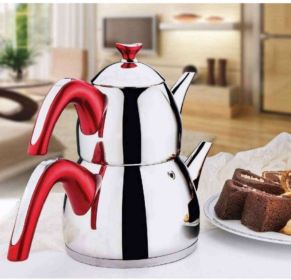 Rainbow Stainless Steel Turkish Teapot 3 People 2 5 Qt Red