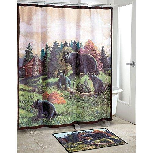 Kids Green Wildlife Themed Shower Curtain Nature Black Bear House Printed Polyester Animal Printed Natural Background Detailed Green Black Motif