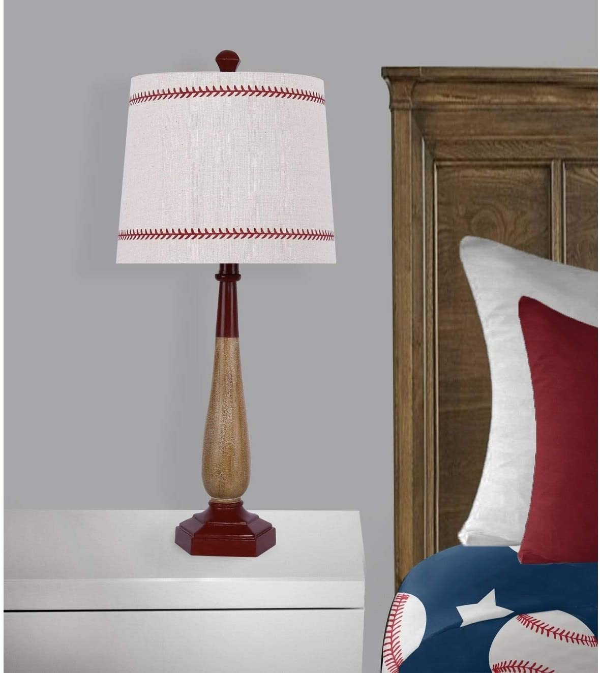 "25 5"" Aged Matte Vintage Red Finish Baseball Bat Table Lamp Modern Contemporary"