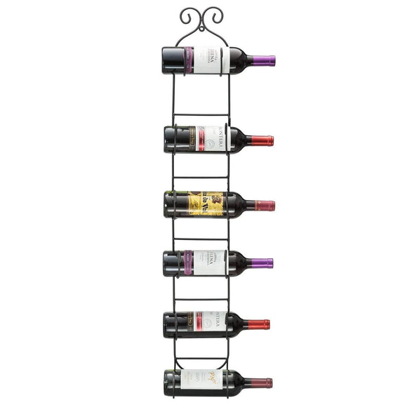 Black 6bottle Wine Rack Modern Wall Mount Wine Rack Holder Storage Vintage Novelty Contemporary Metal