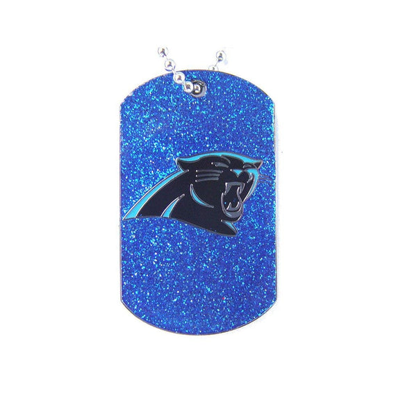 Blue Navy NFL Carolina Panthers Dog Tag Football Themed Glitter Sports Pattern Pet Supplies Team Logo Merchandise Fan Athletics Team Spirit Fan Metal