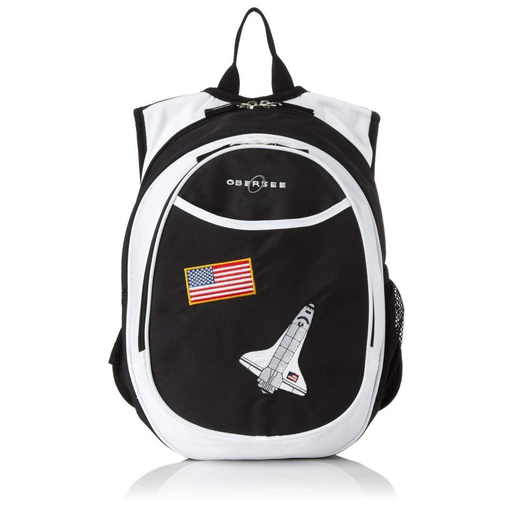 Kids Black Space Shuttle Backpack American Flag Red White Blue Spaceship Gravity NASA Spacecraft School Bag Strap Back Polyester