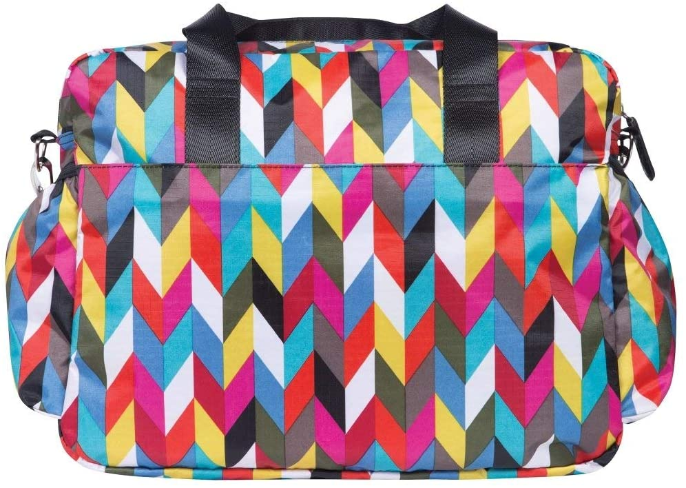 MI 1 Piece Pink Blue Large Chevron Diaper Bag Babies Baby Nursery Tote Backpack Carrier Geometric Hobo Zig Zag Pattern Design Roomy Changing Pad