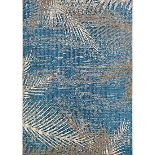 "Coconut Blue Beige Indoor/Outdoor Area Rug 5'10"" X 9'2"" Blue Floral Botanical Casual Tropical Rectangle Polypropylene Synthetic Contains Latex Pet"
