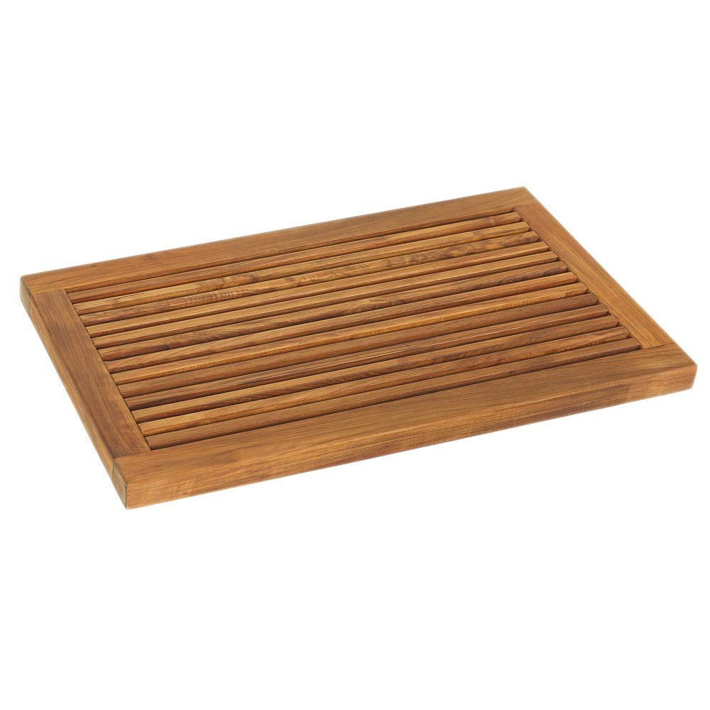 "Large Teak Wood Bath Mat L Size Teak Floor Mat Bathroom Indoor Outdoor Bath Rug Non Slip Shower Mat Brown 31 5"" X 17 75"""