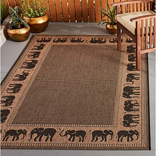 "Global Cocoa Black Indoor/Outdoor Area Rug 3'9"" X 5'5"" Black Brown Animal Border Casual Transitional Rectangle Polypropylene Synthetic Contains Latex"