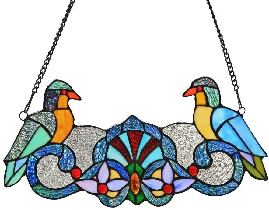 Tiffany Bird Design Window Panel/suncatcher Color Animals Flowers Nature Glass Metal Includes Hardware