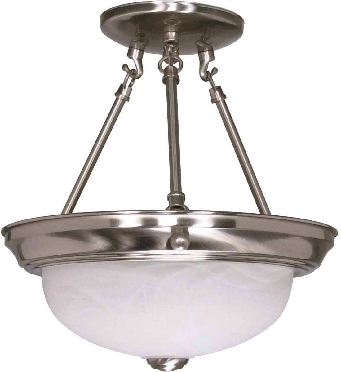 "2 Light 11"" Semi Flush Glass Transitional Steel"
