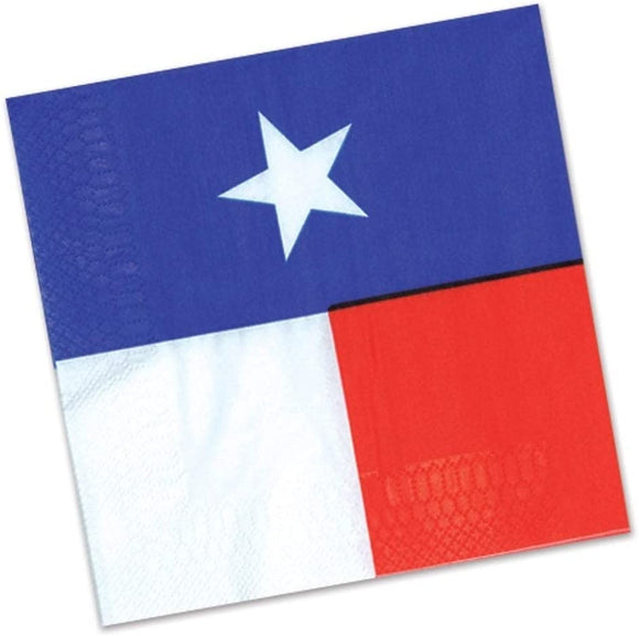 2 ply Western Theme Texas Beverage Napkins 12 Pack (16/pkg) Blue Red White Modern Contemporary Square Organic