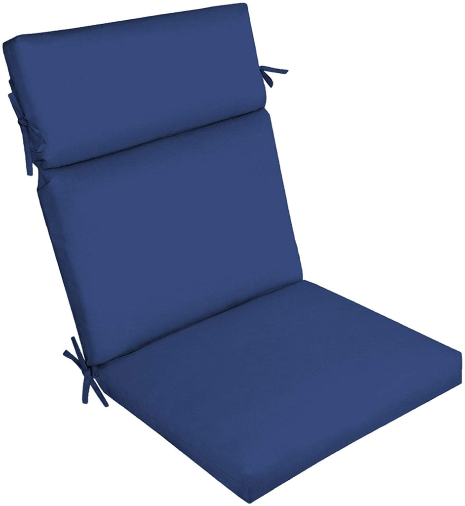 Canvas Texture Outdoor Cartridge Chair Cushion Blue Solid Transitional Uv Resistant
