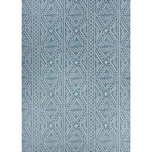 "Teal Indoor/Outdoor Runner Rug 2'3"" X 11'9"" Blue Ivory Geometric Transitional Rectangle Polypropylene Contains Latex"