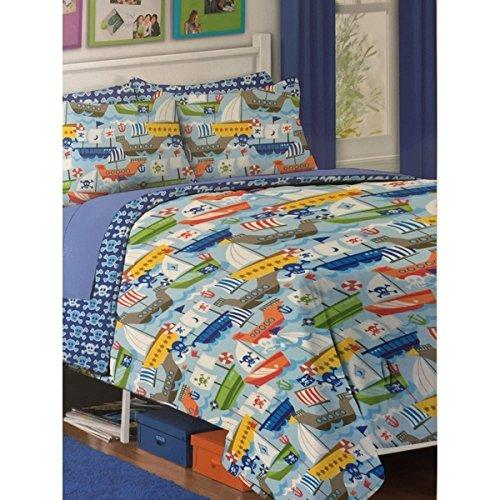 Kids Pirates Twin Comforter Set Pirate Ships Skulls Old Boats Anchor Polyester Bedding Children Orange Blue Yellow Colored Pirate Themed