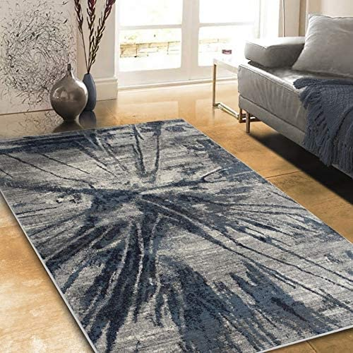 "Rugs Distressed Grey Ivory Rectangular Accent Area Rug Steel Blue Abstract Design 4' 11"" X 7' 0"" Modern Contemporary Rectangle Polypropylene Contains"