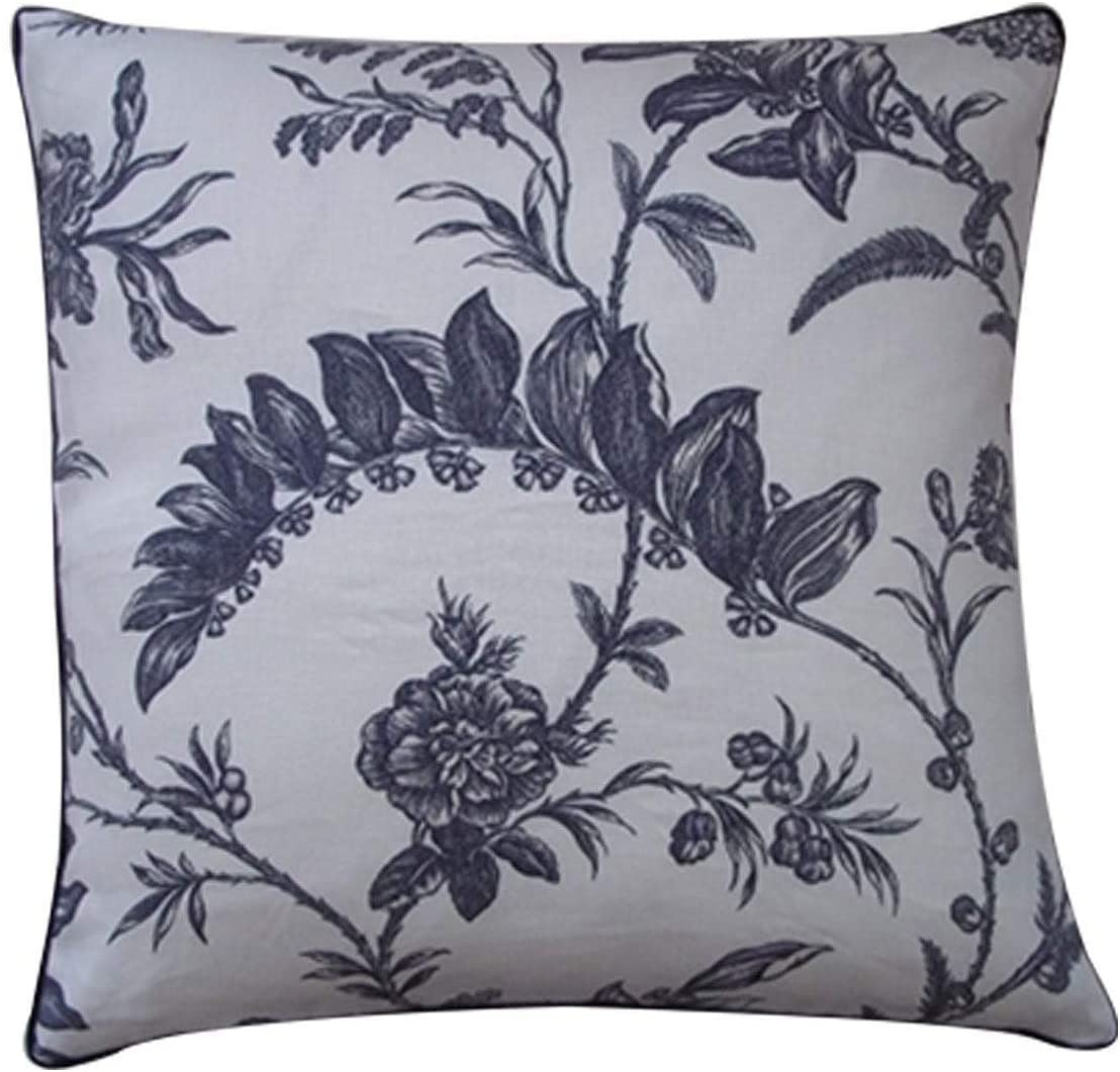"Handmade Ivy Decorative Pillow 20"" X Blue White Floral Bohemian Eclectic Cotton One"