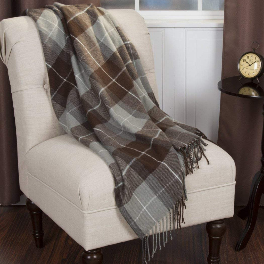 "Brown Grey Classic Plaid Pattern Blanket (50""Wx60""L) Elegant Luxurious Tartan Checkered Design Sofa Throw Tassles Borders Winter Season Soft & Super"