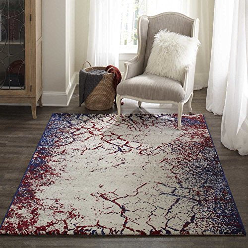"Loft Machine Made Polypropylene Navy Area Rug 5'3"" X 7'6"" Blue Ivory Red Abstract Modern Contemporary Rectangle Latex Free"