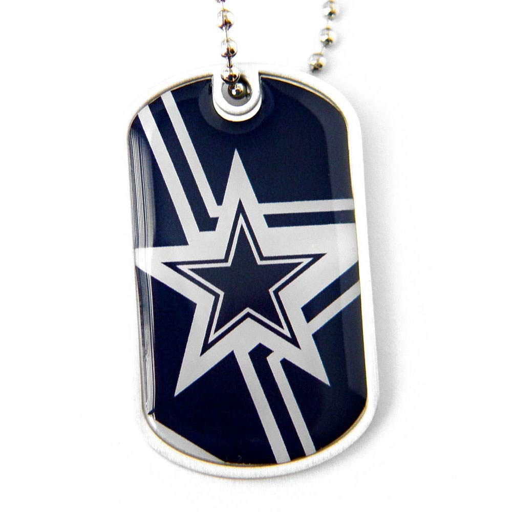 Blue White NFL Dallas Cowboys Dog Tag Football Themed Necklace Charm Chain Sports Pattern Pet Supplies Team Logo Merchandise Fan Athletics Team Spirit