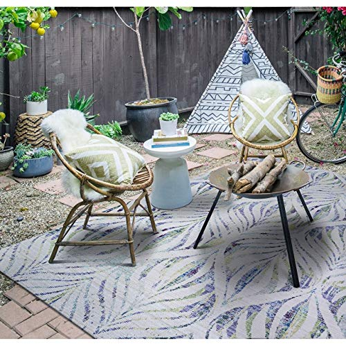"Paradise Palm Indoor/Outdoor Runner Rug 2'3"" X 7'10"" Blue Green Floral Botanical Bohemian Eclectic Modern Contemporary Rectangle Polyester"