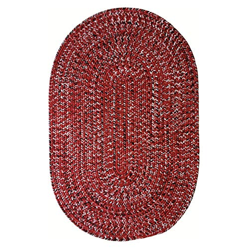 Red Black Hand Braided Oval Area Rug 2' X 3' Stripe Modern Contemporary Polypropylene Latex Free Made Order