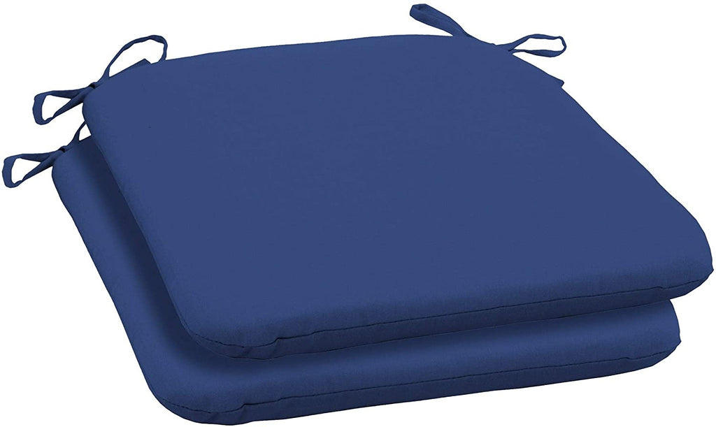 Canvas Texture Outdoor Seat Pad (2 Pack) Blue Solid Transitional Uv Resistant