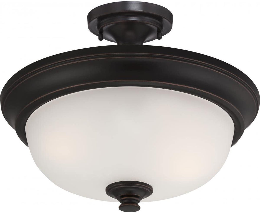 2 Light Semi Flush Frosted Glass Traditional Steel