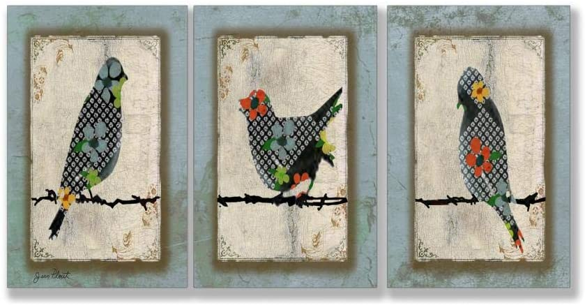 Song Bird Trio 3 Piece Triptych Wall Art Set Blue Modern Contemporary