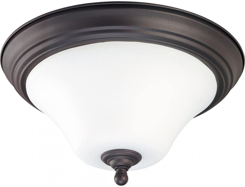 "2 Light 15"" Flush Fixture Transitional Glass Metal"