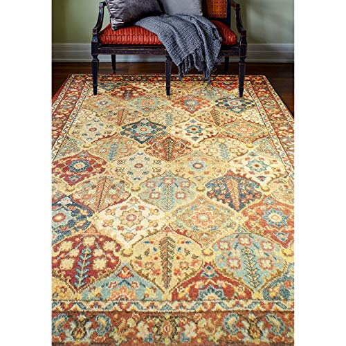 "Area Rug 3'8"" X 5'6"" Oriental Persian Rustic Southwestern Traditional Rectangle Polypropylene Contains Latex"