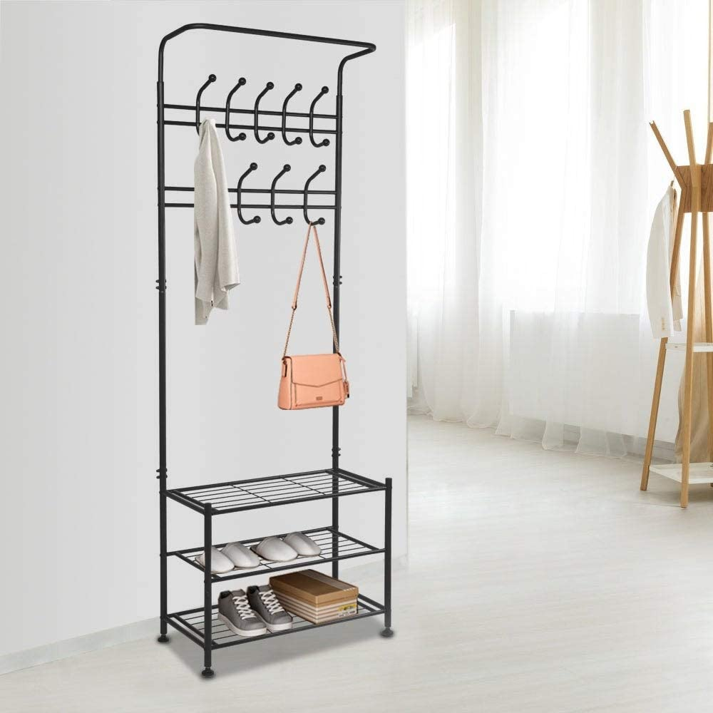Hall Tree Metal Entryway 18 Hooks Coat Rack 3 Tier Shoe Hallway Black Brushed Includes Hardware