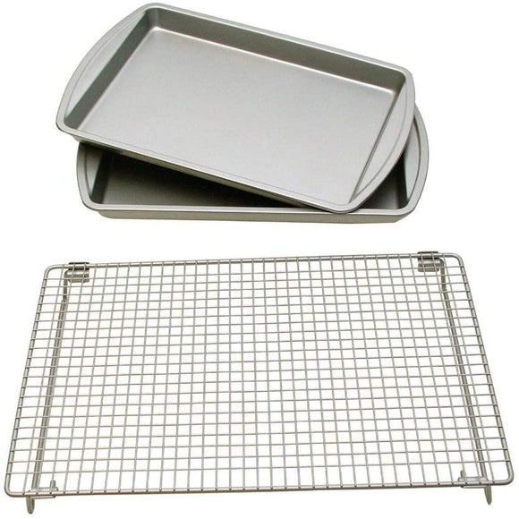Basic Baking Sheets Cooling Rack Set Rectangle Carbon Steel Metal 3 Piece Non Stick Surface