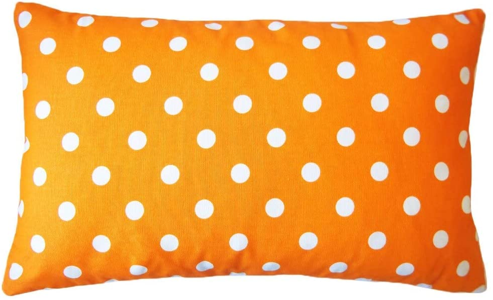 "Handmade Dot Orange Down Lumbar Pillow 12"" X 20"" Cotton"