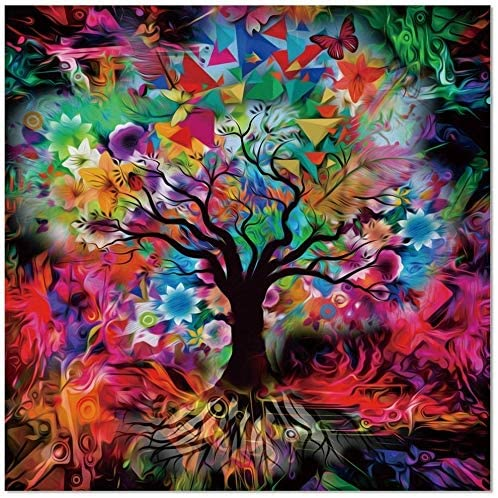 "Kaleidoscope Tree Black Tempered Glass Wall Art 18"" X Modern Contemporary"