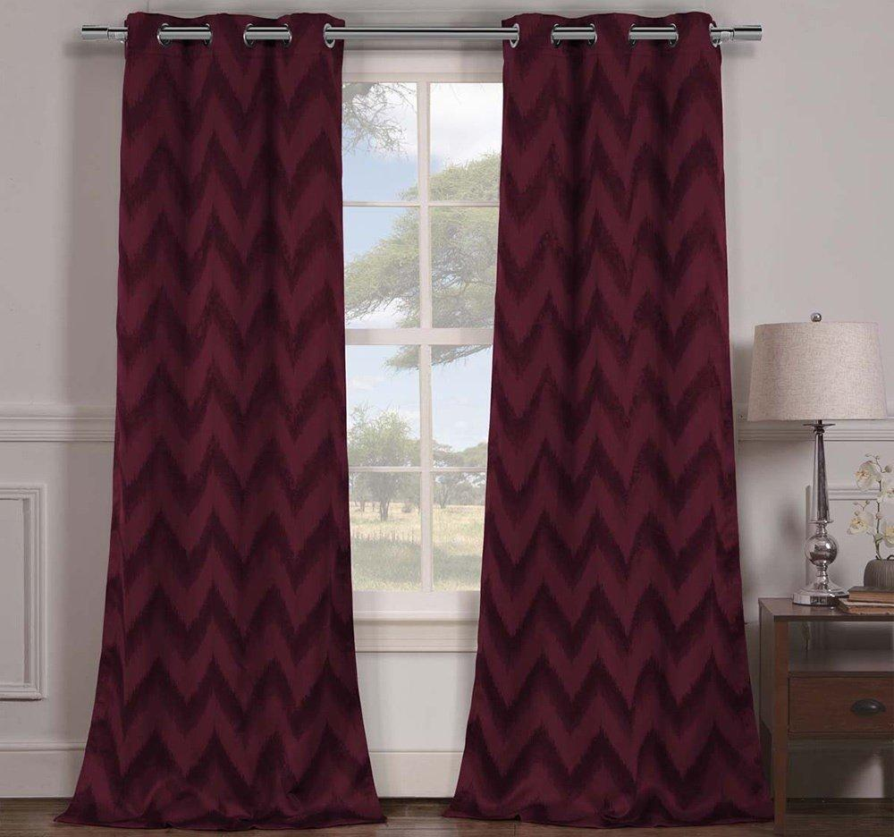 Wine Chevron Window Curtain Set 84 Inch Zig Zag Panels Pair V Shaped Pattern Polyester Burgundy Colour Vibrant Modern Stylish Zigzag Blackout Drapes