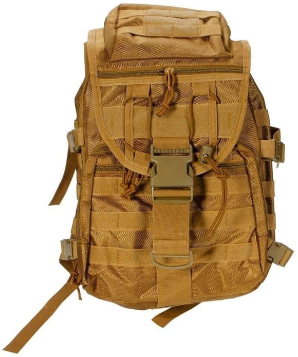 Outdoor Military Tactical Multifunctional Backpack 2 Pcs Brown Solid Nylon Compartment