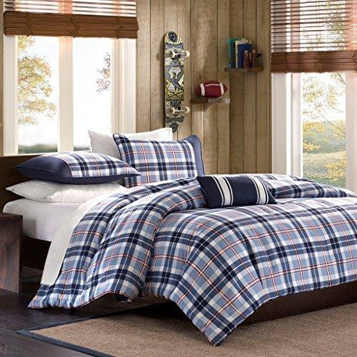 Full Queen Twin Comforter Bed Set Teen Bedding Modern Contemporary Blue Navy Plaid Bedspread Update Bedroom Decor - Diamond Home USA