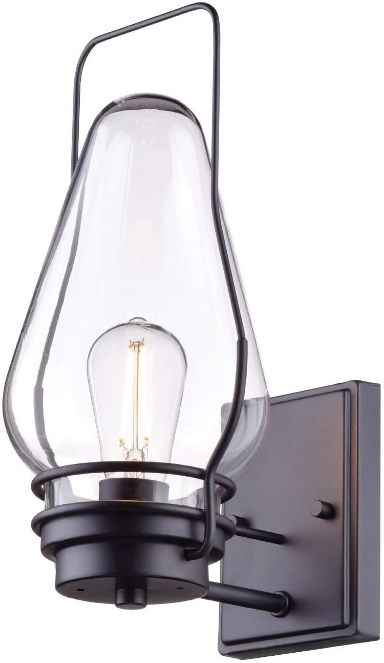 1 Light Black Wall Sconce Clear Glass Shade Transitional Metal Dimmable