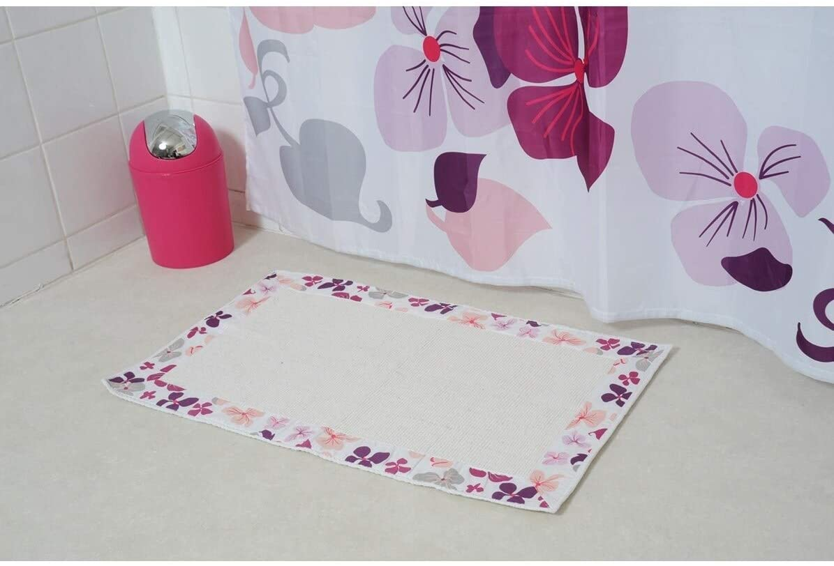 Printed Border Cotton Bath Mat Home Rug Design Softies Purple Floral